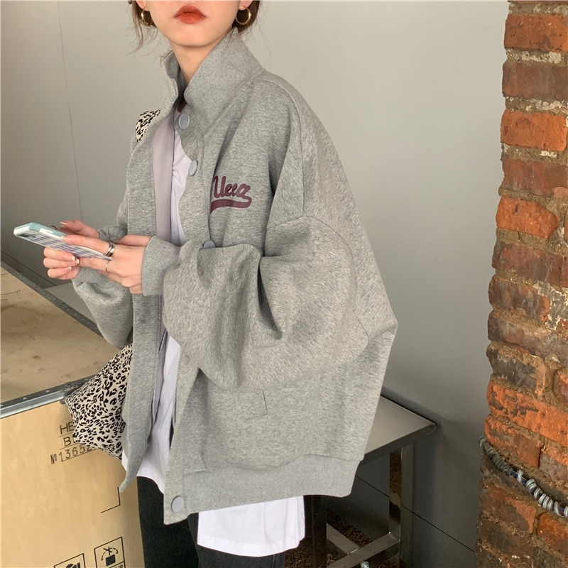 Coat Female Spring Autumn New Lazy Wind Student Loose Sweater Letter Printed Cardigan Korean Style L