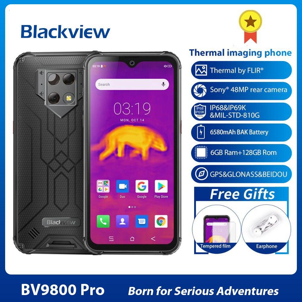 Blackview smartphone bv9800 pro, telefone celular, 6gb + 128gb, 6580mah, global, primeira câmera térmica, 48mp, helio p70, áspero 4g telefone