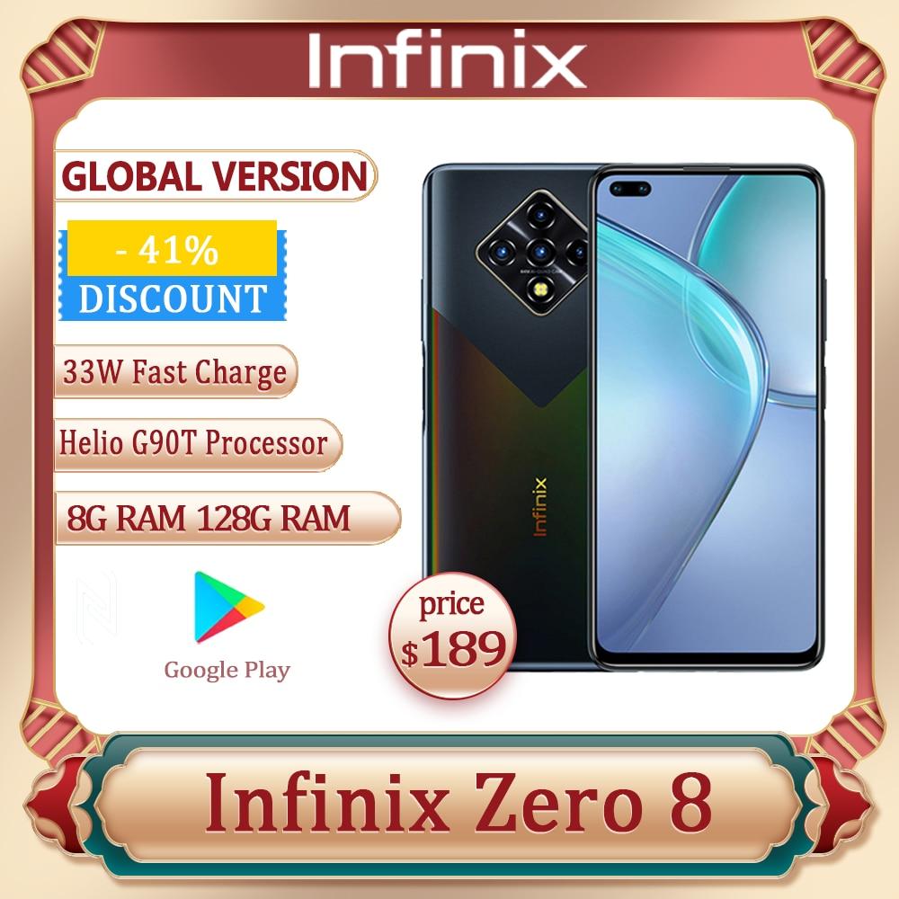 Infinix ноль 8 глобальная версия 128G 8G Оперативная память Octa Core 4 90 Гц 6,8 дюйм Дисплей камеры 64 мп Helio G90T процессор 33 Вт Быстрая зарядка