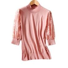 Women Sweater 2020 Summer Pullover Women Women's Patchwork Harf Sleeve Embroidered Sweater Tops