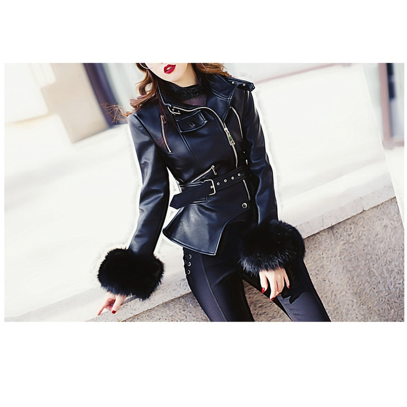 Winter Plus Velvet Biker Jacket Thick Hair Cuffs Stand Collar Leather Motorcycle Clothing Women Leather Jacket Women Coat 2020 enlarge