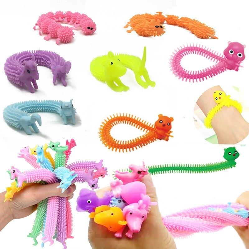 5 pçs novidade gags & brinquedos de brincadeira prática engraçado brinquedo de sanguessuga animal bonito antiestresse espremer mochi cor aleatória