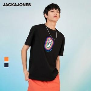 JackJones Men's 100% Cotton Loose Fit Flocking Print Unisex Lover's Round Neckline Short-sleeved T-shirt | 221201423
