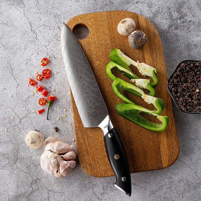 Cuchillo de cocina profesional de acero damasco, cuchillo de carnicero, Cuchillo de...