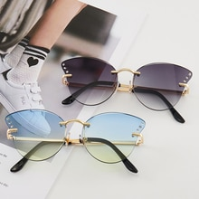 UV400 Butterfly Rimless Colorful Sunglasses Personality Driver Goggles 2021 Women Versatile Sunglass