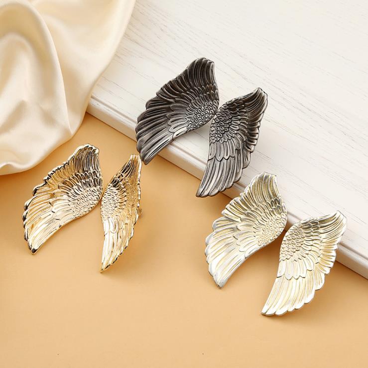 Lch anjo asa em forma de liga de zinco puxadores da porta do armário puxador da gaveta da porta puxador de bronze cor estilo europeu