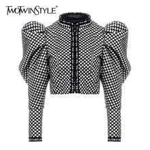 Twotwinstyle ruched xadrez casaco para mulher o pescoço puff manga curta feminino casaco streetwear outono moda nova roupa 2019