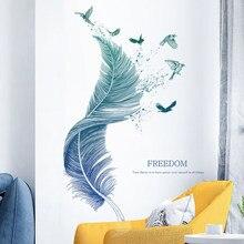 Autohesion-autocollant mural en plume 3D   Extra-Large, papier peint de fond de canapé TV, décoration de salon, décor de chambre à coucher, affiche nordique