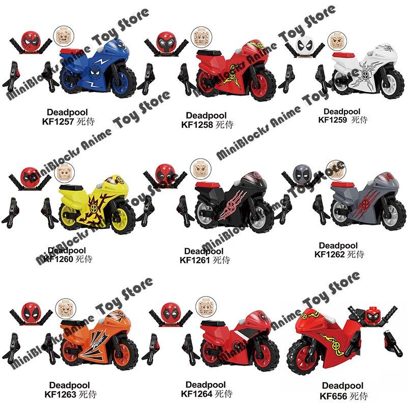 KF6100 фигурки героев фильма Marvel Дэдпул мотоцикл строительные блоки кирпичи мини Экшн-фигурки Детские Обучающие сборные игрушки подарок на де...