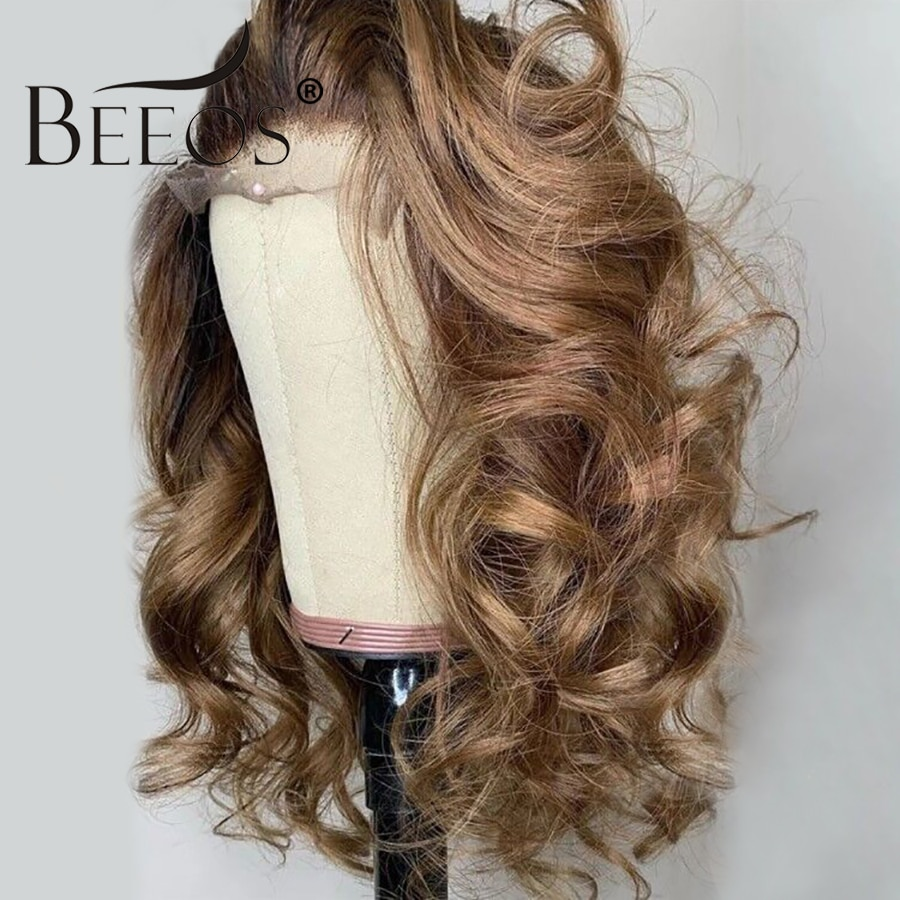 Beeos180%  Lace Front Human Hair Wigs Hondy Blond Loose Wave Pre Plucked With Baby Hair Bleached Knots Brazilian Remy