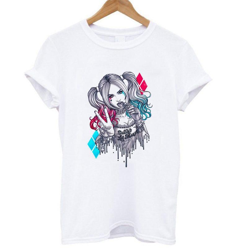 Nuevo Casual American Movies Suicide Squad mujeres verano cuello redondo Harley Quinn imprimir camisetas moda manga corta Camiseta gráfica
