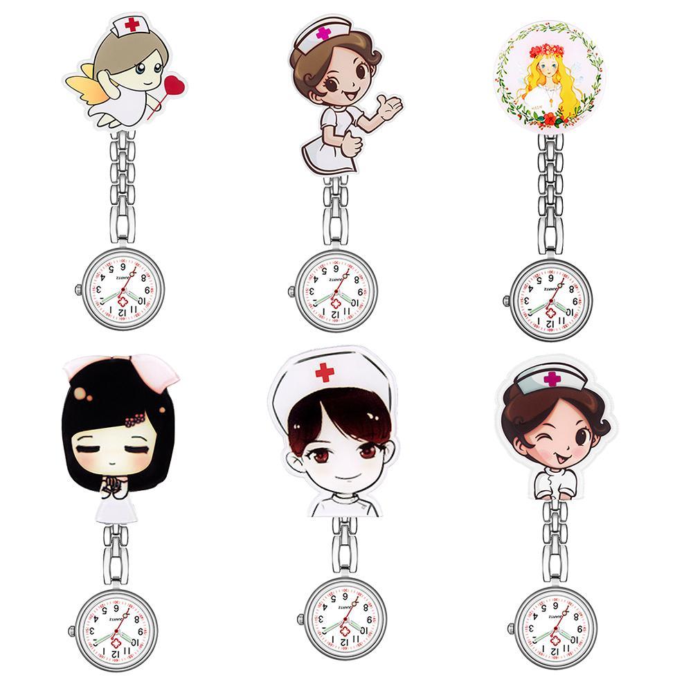 Relógio de bolso analógico numeral, relógio de pendurar enfermeira e médico de quartzo