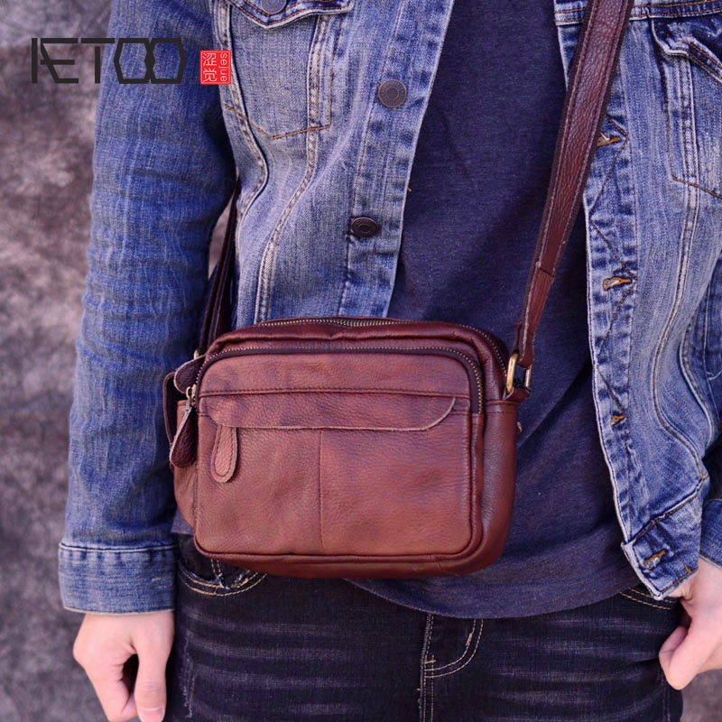 aetoo casual cowhide leather messenger bag small shoulder bag men mini bag genuine leather summer flaps phone bags AETOO Fashion Business Soft Genuine Leather Men Messenger Bags Chest Trip Small Crossbody Shoulder Bag Male Handbag Mini