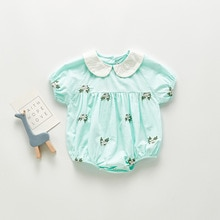ATUENDO Summer Fashion Newborn Infant Rompers 100% Cotton Satin Soft Baby Jumpsuits Kawaii Cute Soli