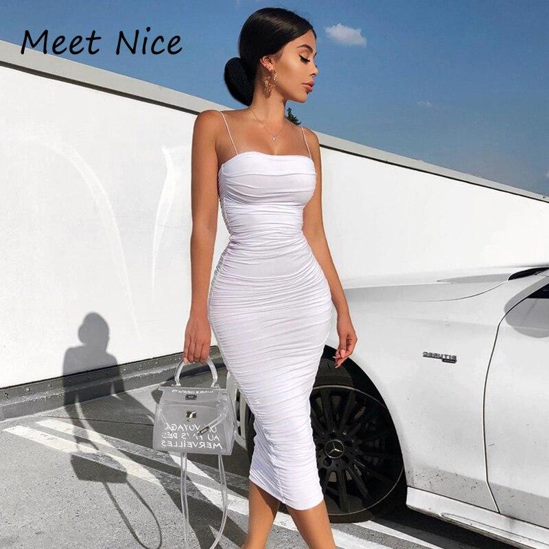 2 capas blanco acanalado elegante vestido de las mujeres rosa partido largo vestidos Sexy mujer fiesta noche verano Midi vestido