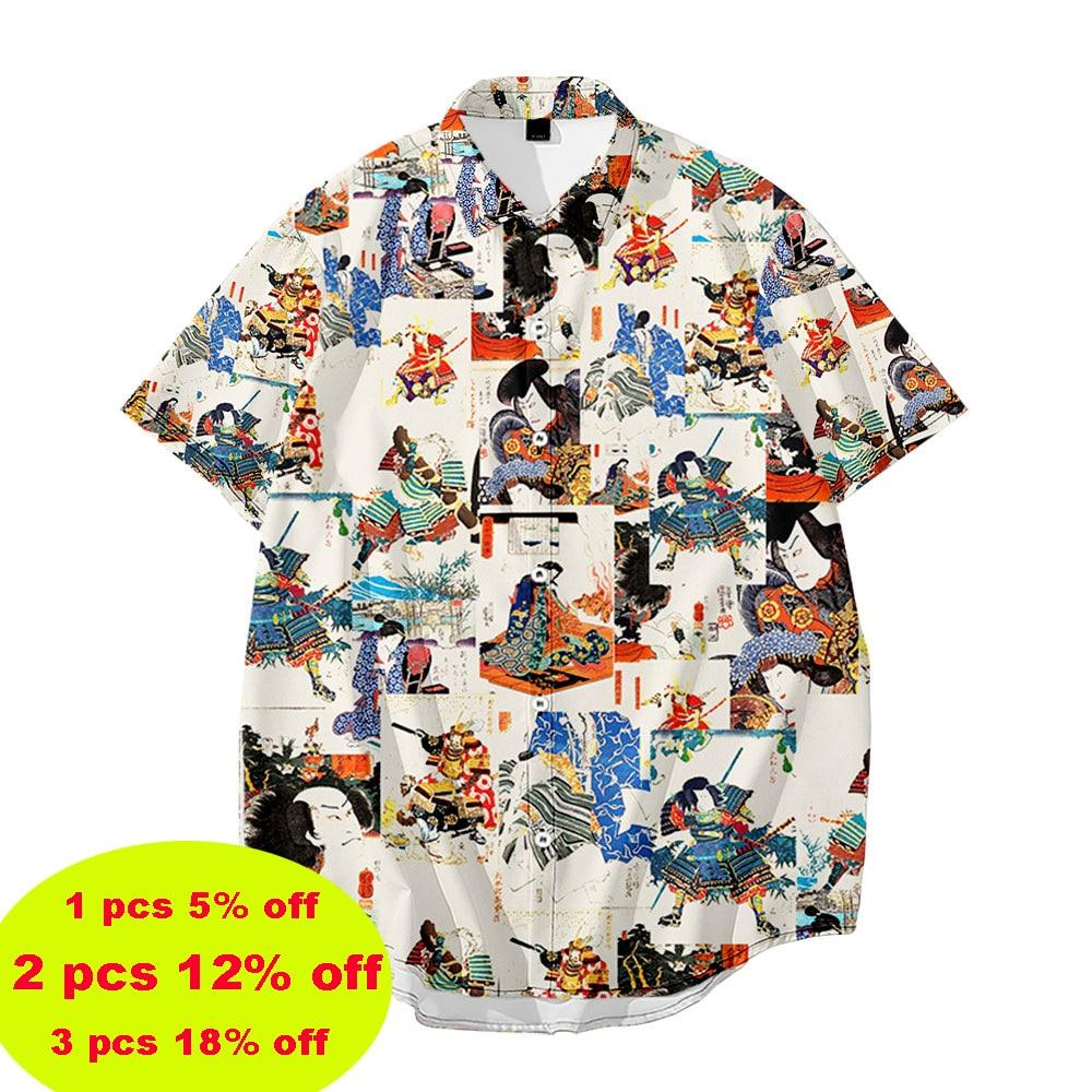 Japanese Style Printing Short-Sleeved Printing Summer Casual Loose Plus Large Size Shirt Men's Hawaii Beach Vacation Shirt