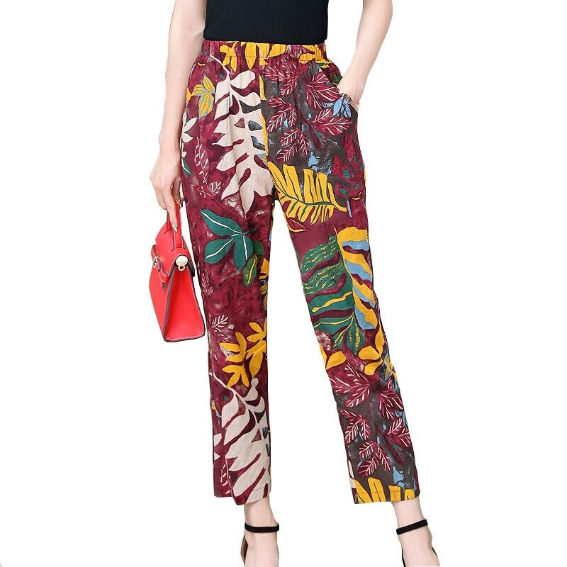 New 2020 Casual Plus Size Print Pants Woman Vintage Elastic Waist Summer Pants Female Streetwear Trousers