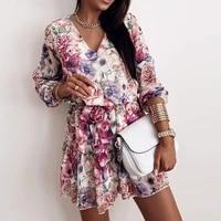 spring womens chiffon v neck flower print dress casual long sleeve short dress female boho leisure a line party vestidos 2021