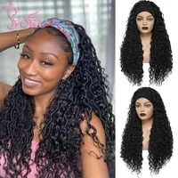 headband wig braided wigs with curly faux locs crochet braid hair for black women soku ombre 24 inch long synthetic braids wig