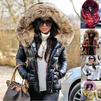 new winter best selling womens down jacket fashion loose fox fur collar warm jacket outdoor sports and leisure short jacket