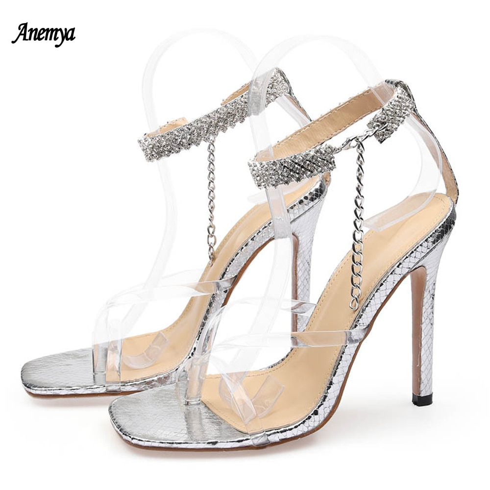 New Gold Silver Fashion Women's Sandals Sexy Pinch Square Toe High Heels Diamond Decoration Summer Party Shoes Woman Stiletto 42