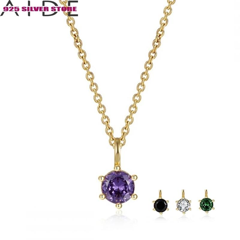 aide-925-стерлингового-серебра-ожерелье-подвеска-колье-для-женщин-для-девочек-Цвет-ожерелье-из-циркона-ожерелья-воротник-подарок-на-день-мат