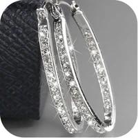 exquisite women 925 sterling silver 18k gold earrings natural gemstone diamond hoop earrings wedding engagement jewelry
