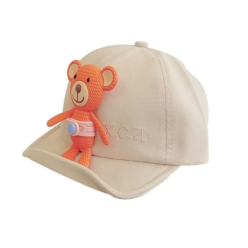 New Kid Hat Cartoon Cute Bear Spring Adjustable Baseball Cap Summer Visor Sun Hats Children Accessories Caps 4 Colors недорого