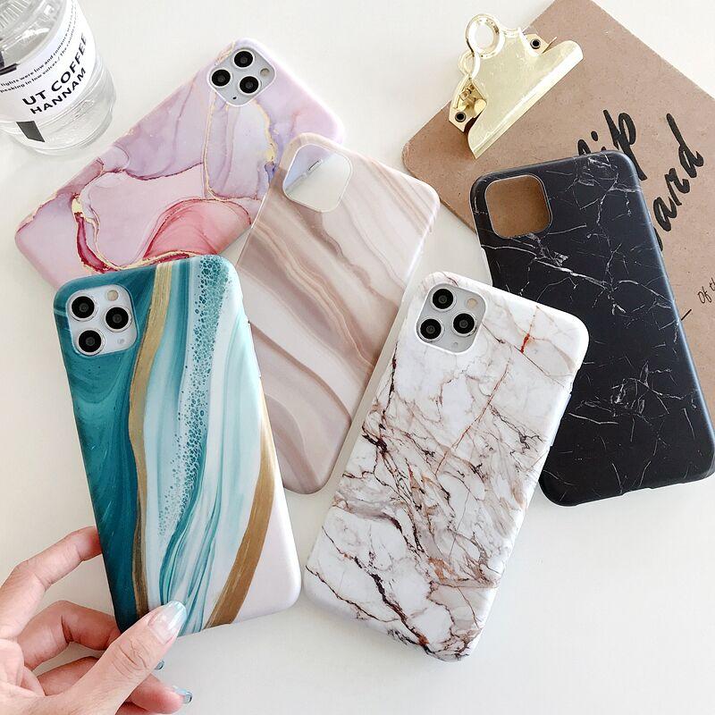 Lovecom textura de mármore do vintage caso de telefone para iphone 11 pro max xr xs max 7 plus 8 x corpo inteiro macio imd matte capa traseira coque