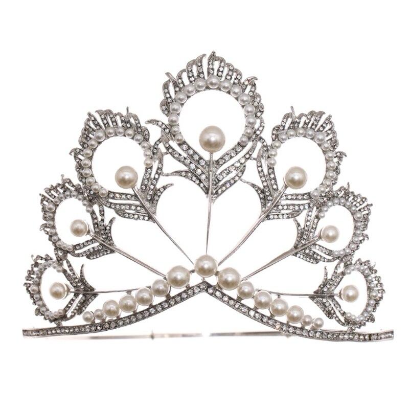 Shiny Faux Pearl Princess Crown Crystal Hair Tiara Women Bridal Party Wedding Headdress Accessories