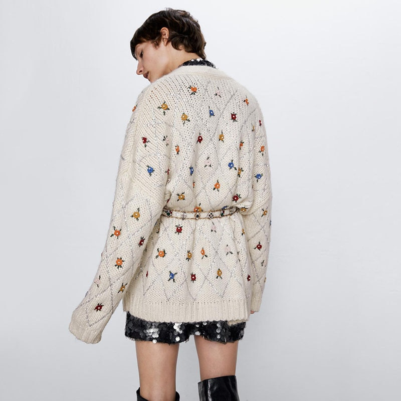 Women Knitted Cardigans Long Sleeve Coat Casual Loose Embroidrey Floral V-Neck Sweater Outwear 2021 ZA New enlarge