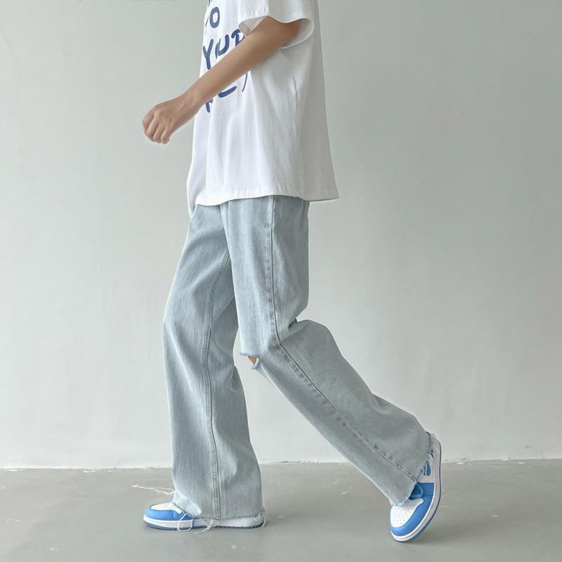Summer Wide-leg Jeans Men's Fashion Light Blue Casual Ripped   Streetwear Loose Hip-hop Hole Straight Denim Trousers