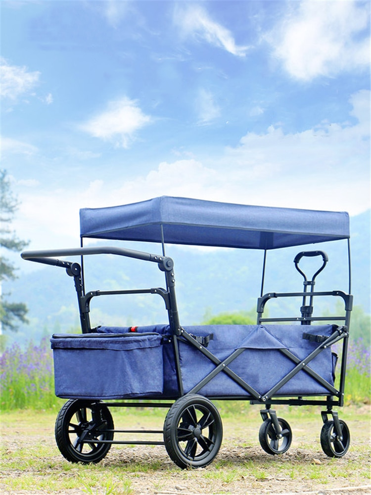 Wagon Stroller Baby Folding Wagon with Removable Canopy Push Pull Stroller with Adjustable Handle Bar Easy Set Up