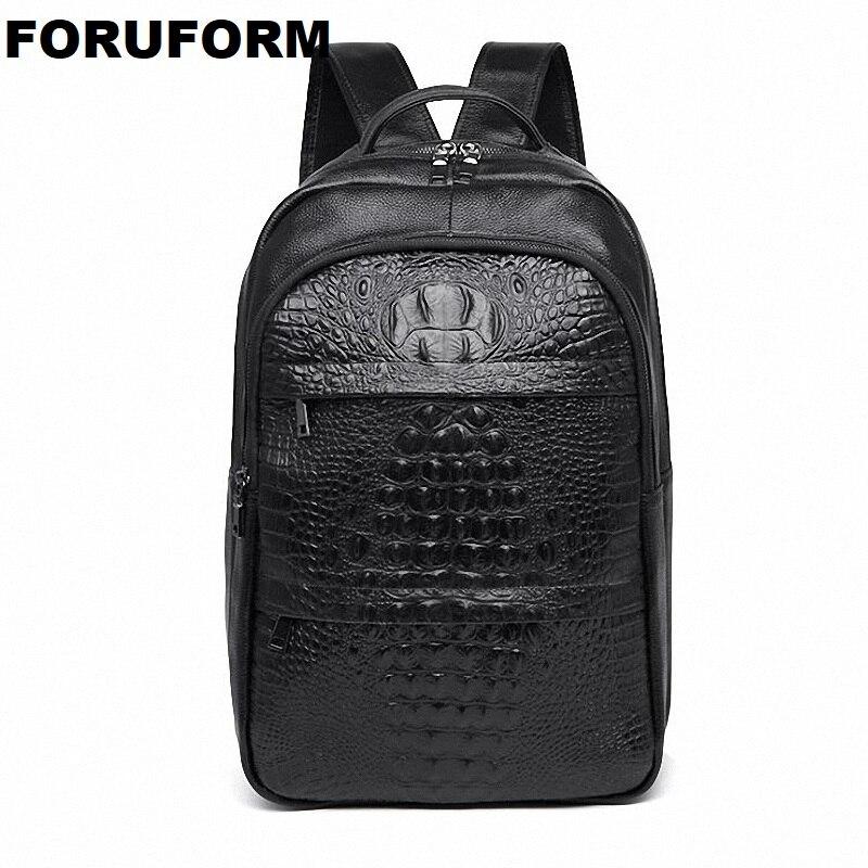 Mochila informal de cuero genuino para hombres de negocios Mochila de cuero con patrón de cocodrilo mochila de moda bolsa de viaje impermeable ZH-304