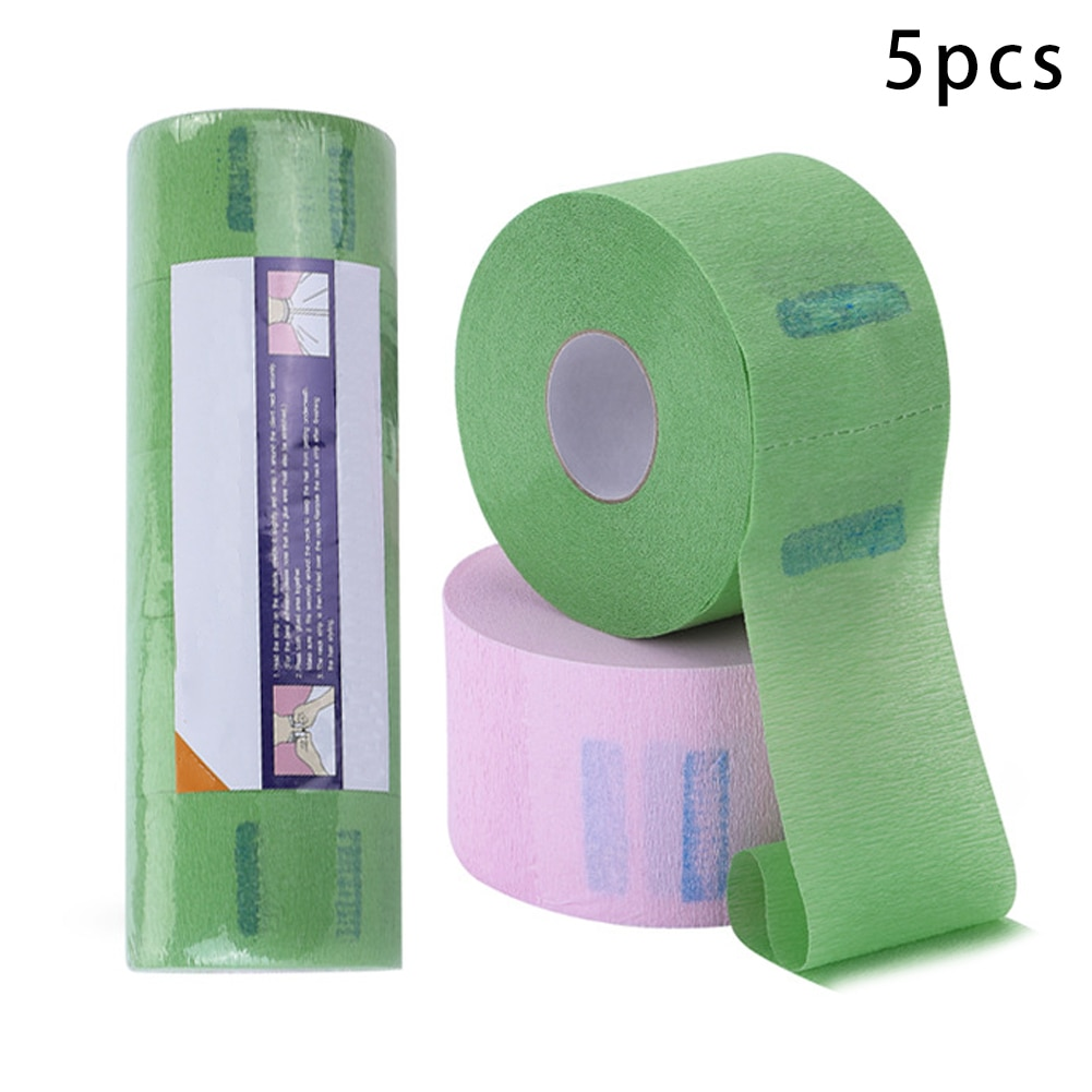 Neck Paper Strips Neckband Hairdressing Tissue Disposable Green Stretchy Wrap for Salon Barber Supplies 5 Rolls