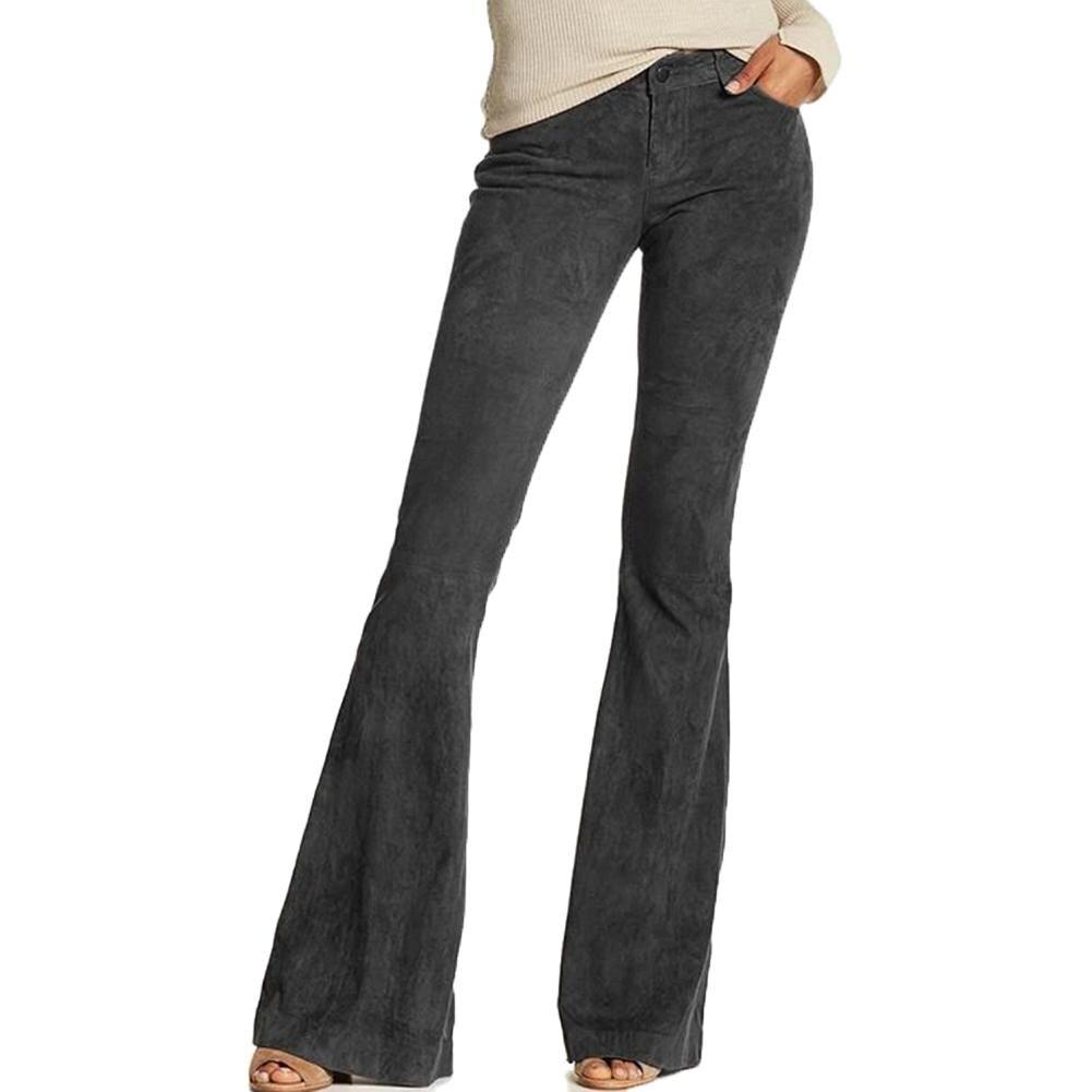 Vintage mujer Retro Casual de alta cintura de Color sólido pierna ancha pantalones Bell-Bottom moda Faux Suede Mujer Pantalones S-5XL