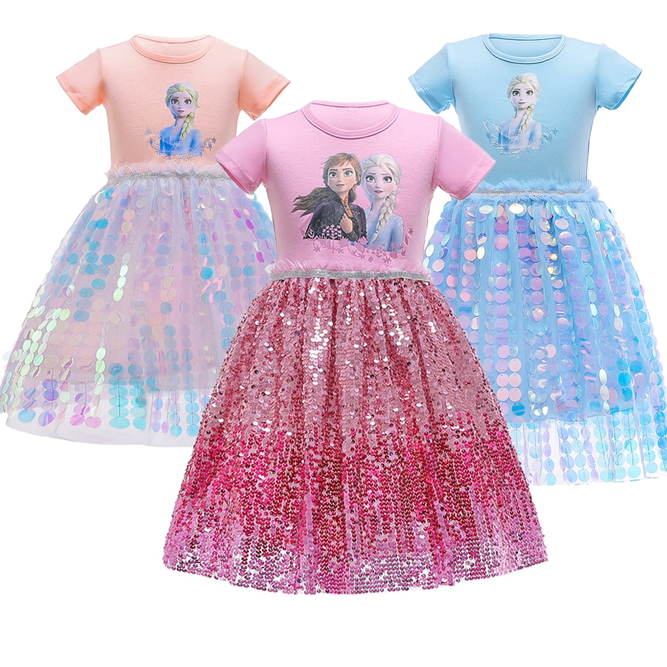 Girl Summer Dress Anna Elsa Princess Birthday Party Gown Fashion Short Sleeve Sequins Dresses Kids Frozen Costume