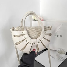 Fashion Circular Leather Shoulder Crossbody Bags for Women 2021 Hollow Weaving Purses and Handbags L