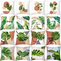 new green home decor green plant printing throw pillow cover for sofa living room decorative car chair comfort cushion cover