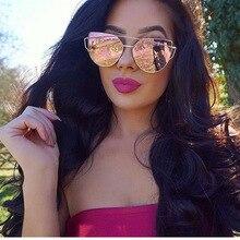 Sunglasses Women 2021 Vintage Cat eye Sunglasses Women Metal Reflective Glasses For Women Mirror Ret