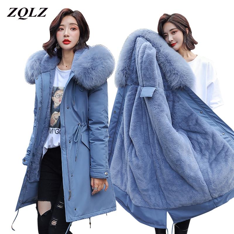 ZQLZ Winter Coat Women 2020 warm thick Long Parka donna cotton dames jassen winter Hooded Faux Fur Collar womens jackets