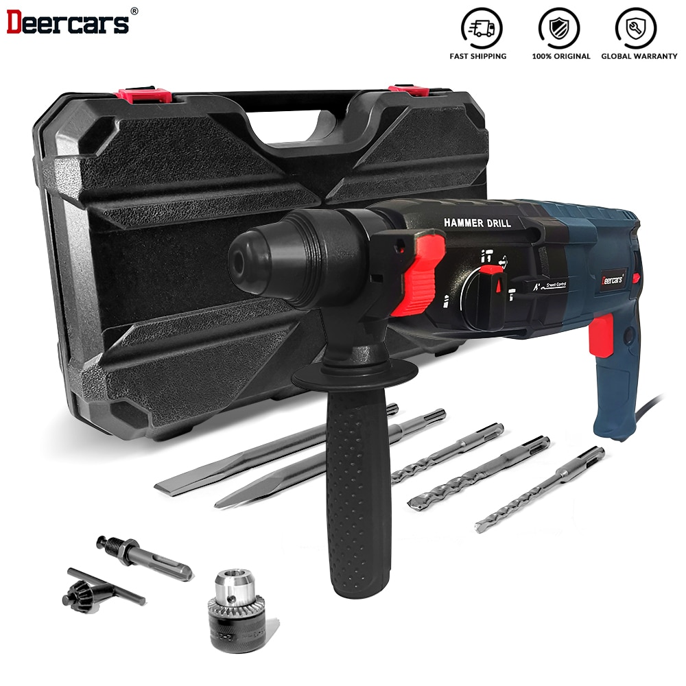 220V Electric Rotary Impact Hammer Drill 28mm Three Function Professional Concrete Wall Hole Open Power Tools Chisel Shovel