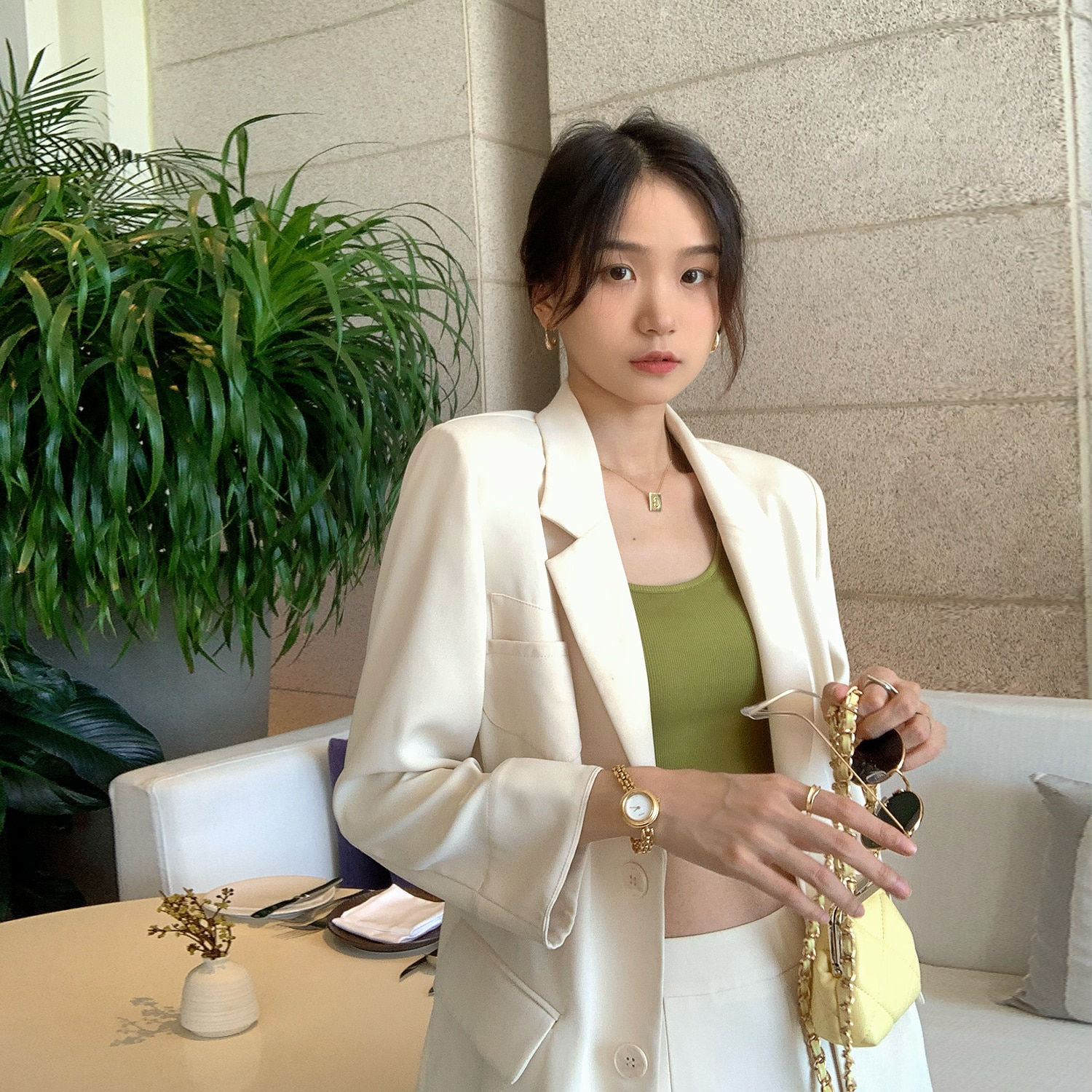 Women's Suits City Hunter Cool Thin Summer 2021 New White Seven Sleeve Suit Coat Female