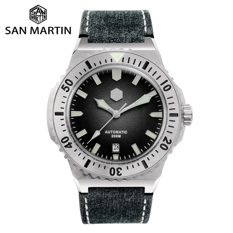 سان مارتن ساعات رجالية غواص ساعة فاخرة الياقوت ساعات آلية مقاوم للماء مضيئة SN0055 PT5000 SW200 ساعة أوتوماتيكية