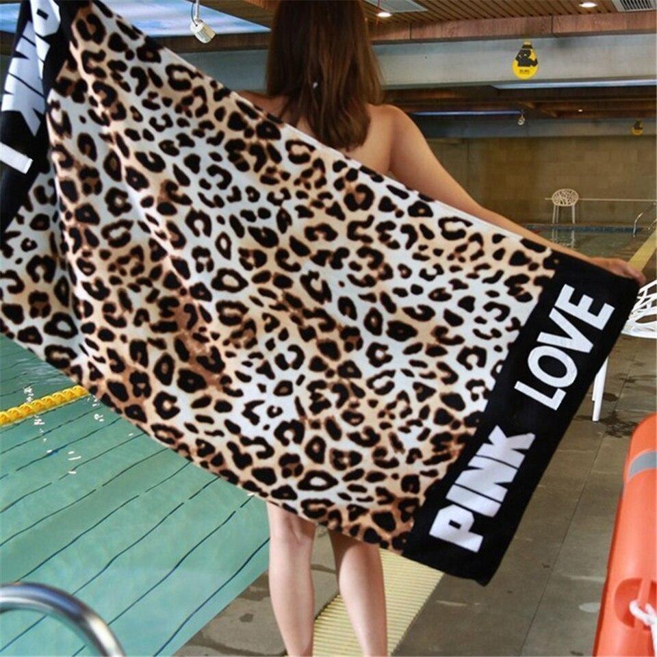 145x70cm leopardo absorvente rosa toalha de praia banho menina macio algodão sofá cobertor viagem xale yoga tapete tapeçaria de parede toalla playa