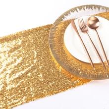 30*275cm or Sequin chemins de Table de mariage polyester/Nylon tissu hôtel nappe or icône décoration Banquet-80620