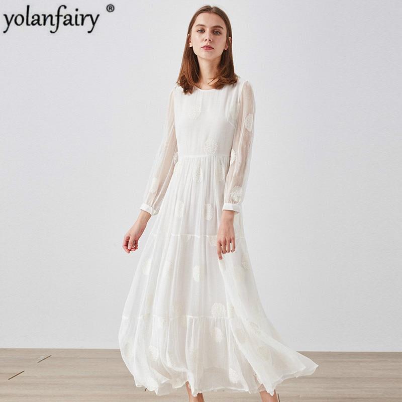 الأبيض 100% الحرير اللباس المرأة الربيع الصيف أنيقة طويلة اللباس شاطئ حزب فساتين للنساء الكورية Vestido 2020 CLYQ-10129 KJ4586