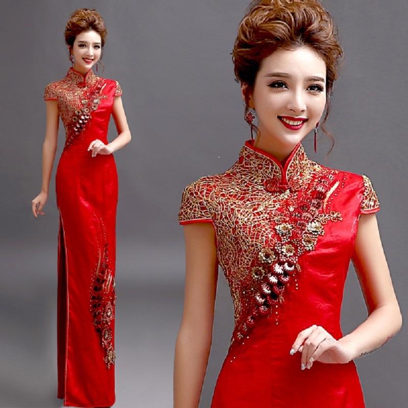 خمر النمط الصيني شيونغسام فستان الزفاف المرأة ثوب طويل تشيباو حفلة سهرة فستان ريترو الملابس Vestido