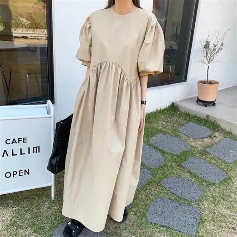 Lanmrem em torno do pescoço puff mangas emendadas pulôver de cintura alta kahki cor coréia doce feminino moda vestido verão maré 2a03204