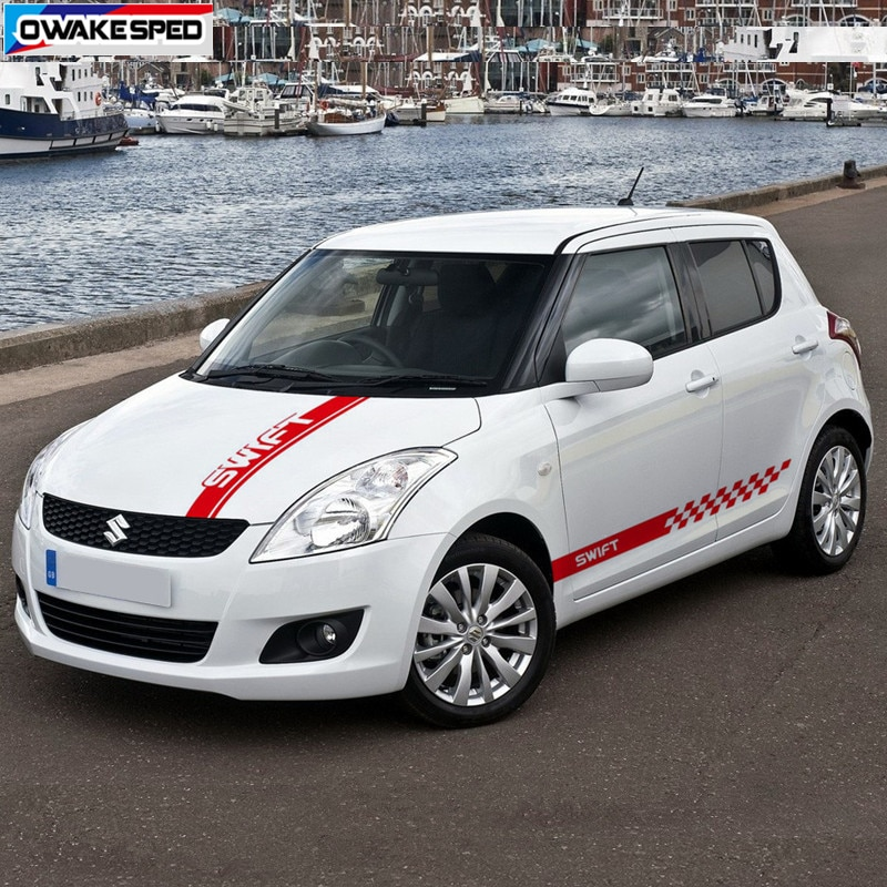 Car Hood Bonnet Vinyl Decals Auto Door Side Skirt Sticker For SUZUKI-Swift Sport Racing Styling Body Stripes Accessories